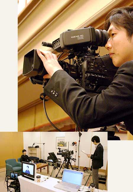 業務用カメラを使用した撮影風景