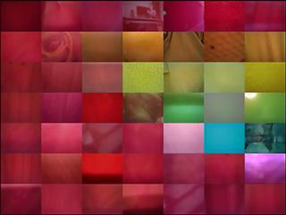 画面を49分割して虹色から赤一色へ変化